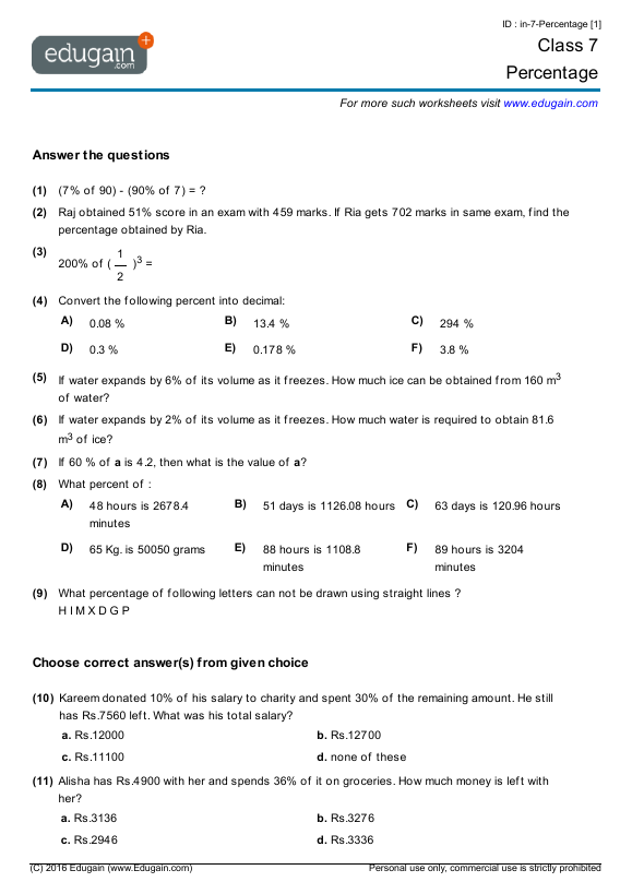Worksheet #642437: Year 7 Maths Revision Worksheets – Help maths ...