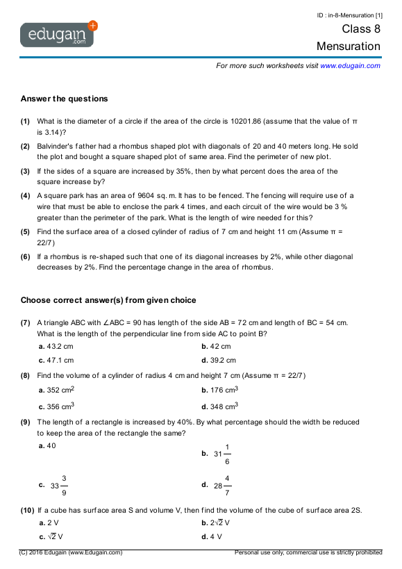 Grade 8 Math Worksheets and Problems: Mensuration | Edugain S Korea
