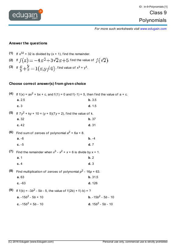 Algebra 1 worksheets pdf with answers